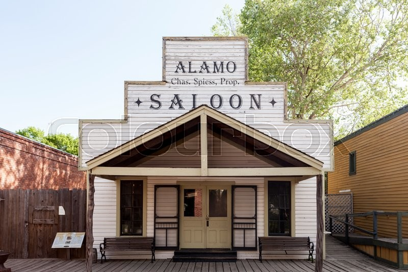 Editorial image of 'DALLAS, USA - APR 8: Historic wooden building of a Saloon in Dallas Heritage Village. April 8, 2016 in Dallas, Texas, United States'