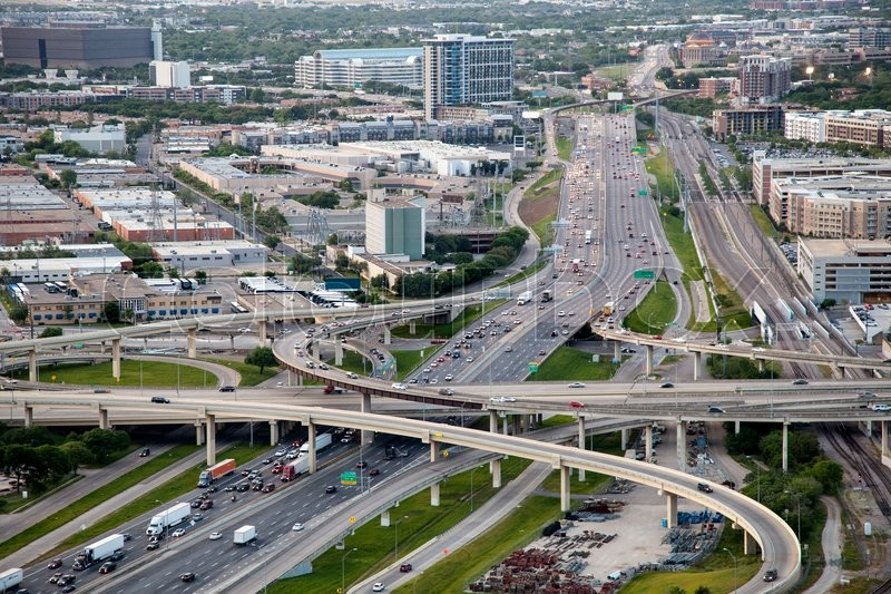 Stock image of 'Aerial view over highways in Dallas. Texas, United States'