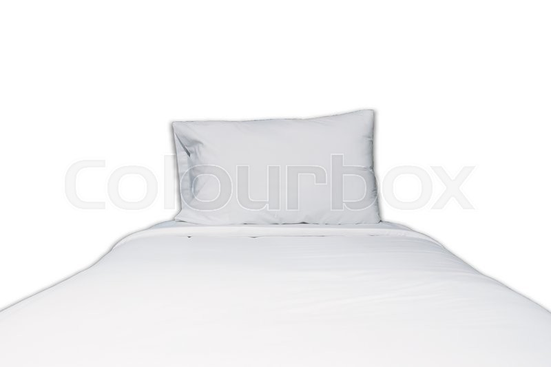 Stock image of 'Close up white bedding and pillow on white background, stock photo'