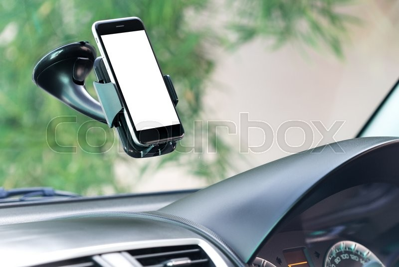 Editorial image of 'Close up phone mounted in car'