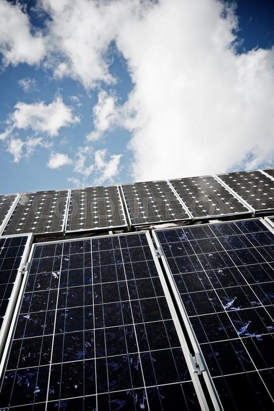 Stock image of 'detail of a photovoltaic panel for renewable electric production'