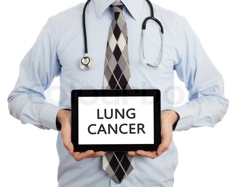 Stock image of 'Doctor, isolated on white backgroun,  holding digital tablet - Lung cancer'