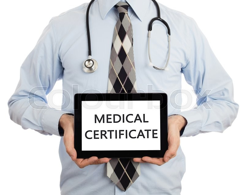 Stock image of 'Doctor, isolated on white backgroun,  holding digital tablet - Medical certificate'