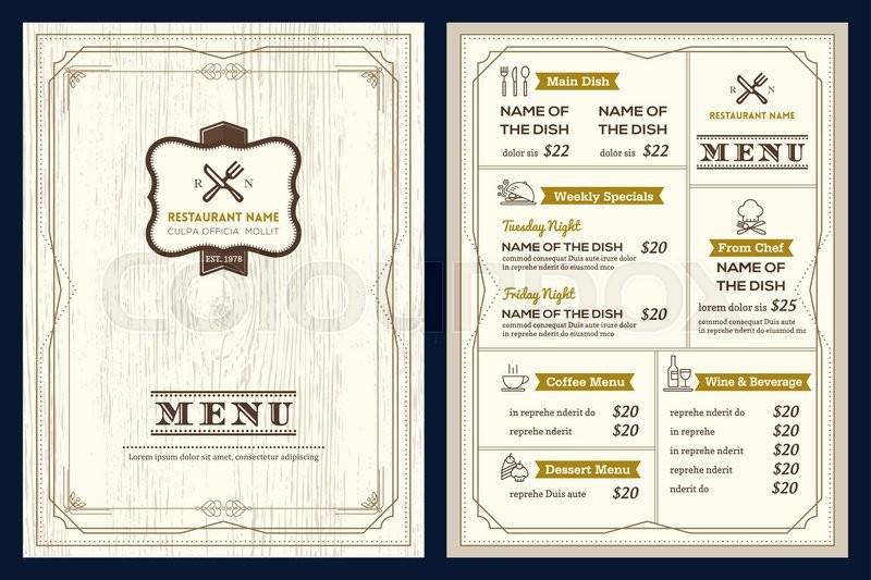 restaurant or cafe menu vector design template with vintage retro