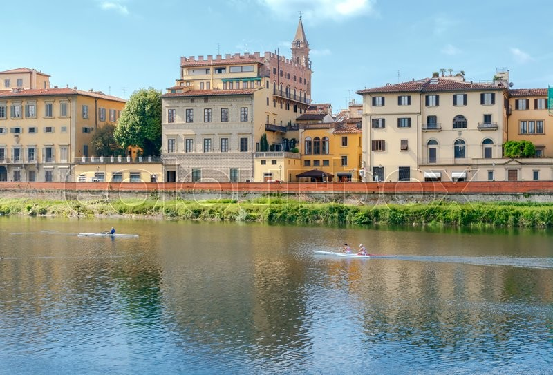 Stock image of 'The facades of the old houses medieval period on the waterfront. Florence.'