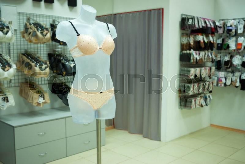 Stock image of 'Modern and luxury shop of  underwear. Underwear on mannequins '