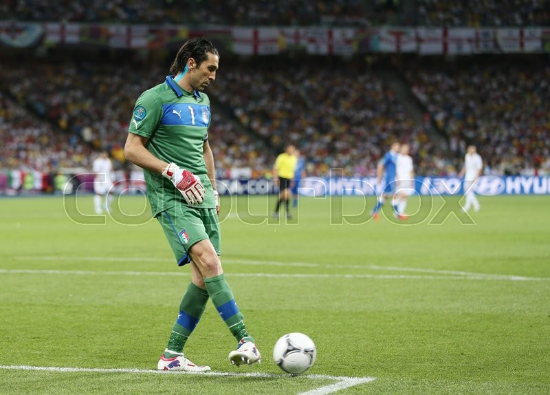 Editorial image of 'KYIV, UKRAINE - JUNE 24, 2012: Goalkeeper Gianluigi Buffon of Italy in action during UEFA EURO 2012 Quarter-final game against England at Olympic stadium in Kyiv, Ukraine'