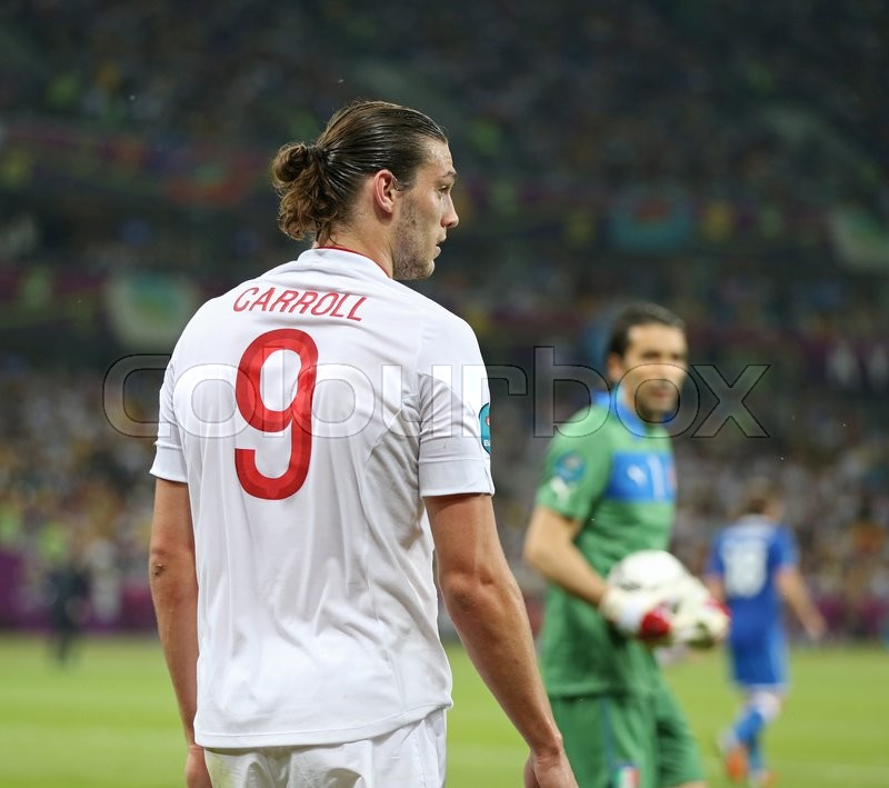 Editorial image of 'KYIV, UKRAINE - JUNE 24, 2012: Portrait of Andy Carroll of England during UEFA EURO 2012 Quarter-final game against Italy at Olympic stadium in Kyiv, Ukraine'