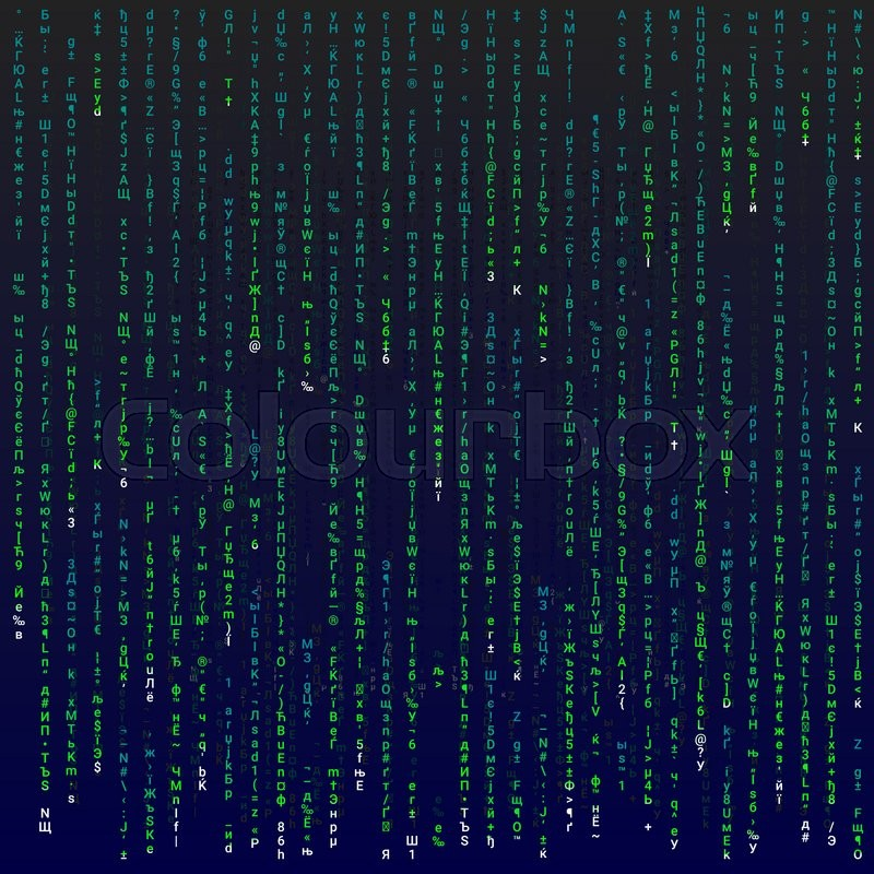 Stock image of 'Matrix background with the green symbols, editable illustration.'