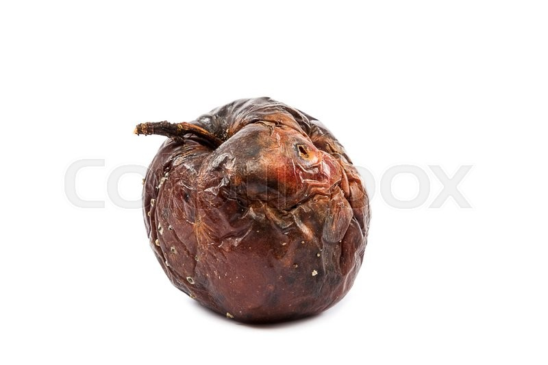 Stock image of 'Rotten apple isolated on white background.'