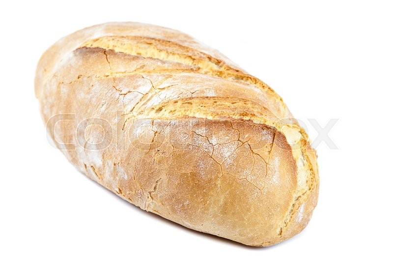 Stock image of 'Loaf of bread isolated on white background.'