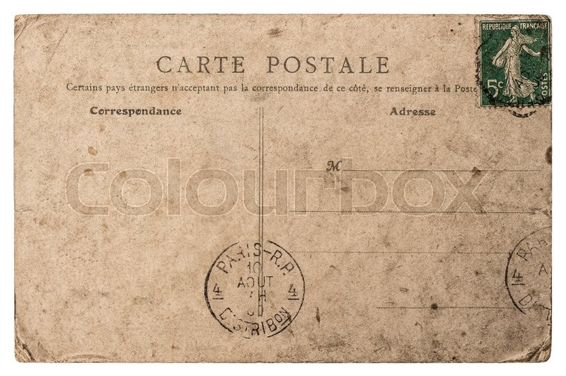 Stock image of 'Empty antique french postcard from Paris. Vintage retro style paper background'