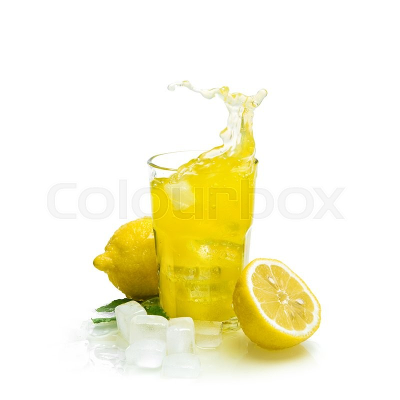 Stock image of 'Lemon drink with ice on white background. Fruit cocktail splash'