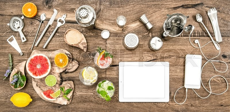 Stock image of 'Food blogger desk with bar tools, accessories and electronic devices. Flat lay background'