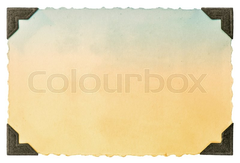 Stock image of 'Old photo paper card with corner and edges isolated on white background. Vintage toned picture'