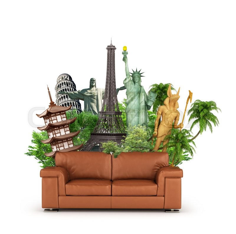 Stock image of 'Travel concept. Attractions World and sofa isolated on white background. Dreaming to travel sitting on the sofa. 3d illustration'
