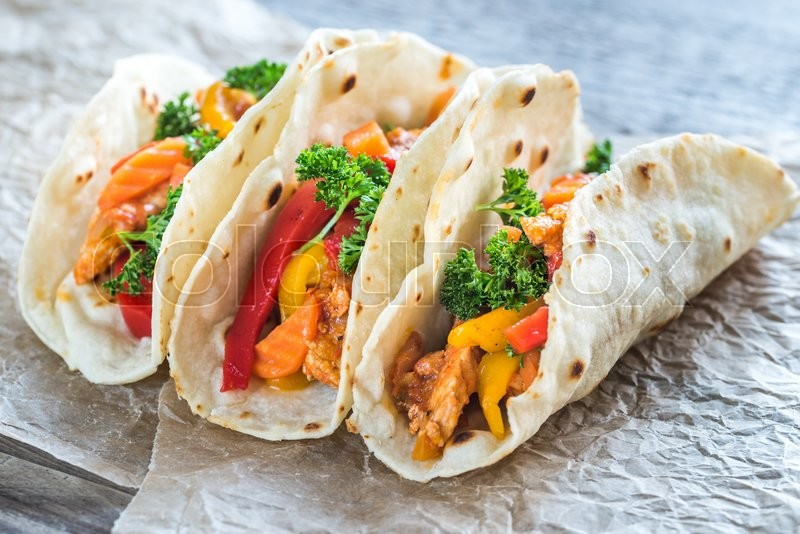 Stock image of 'A chicken taco'