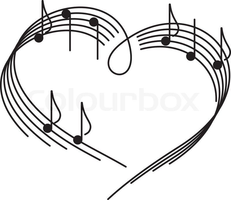 music of love the heart of the music camp with notes stock rh colourbox com vector music logo vector musical notes free