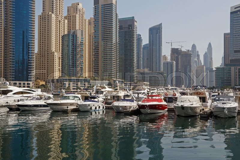 Stock image of 'Speedboats in yacht club of Marina district in Dubai'