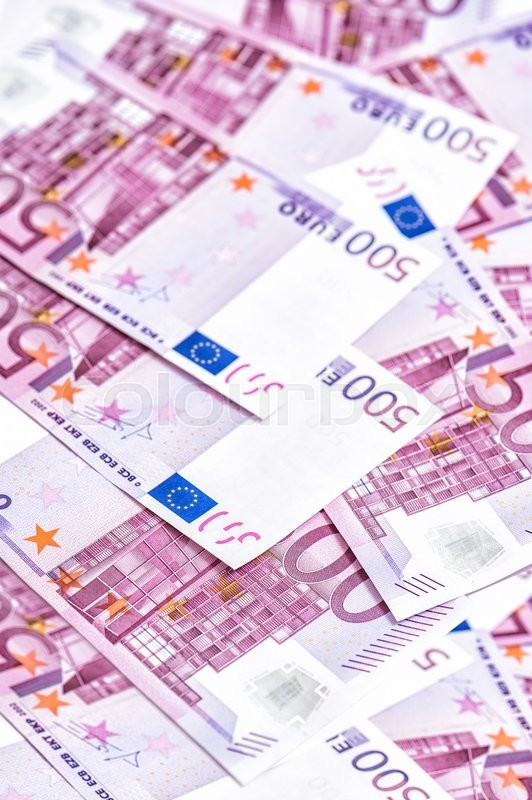 Stock image of '500 Euro bills banknotes. Five hundred notes. European Currency. Money Background'