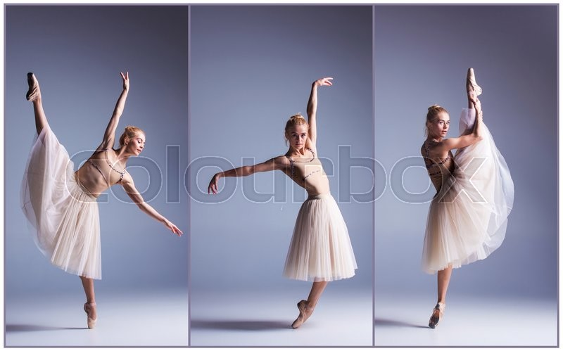 Stock image of 'The young beautiful ballerina dancing on a gray background. Collage'