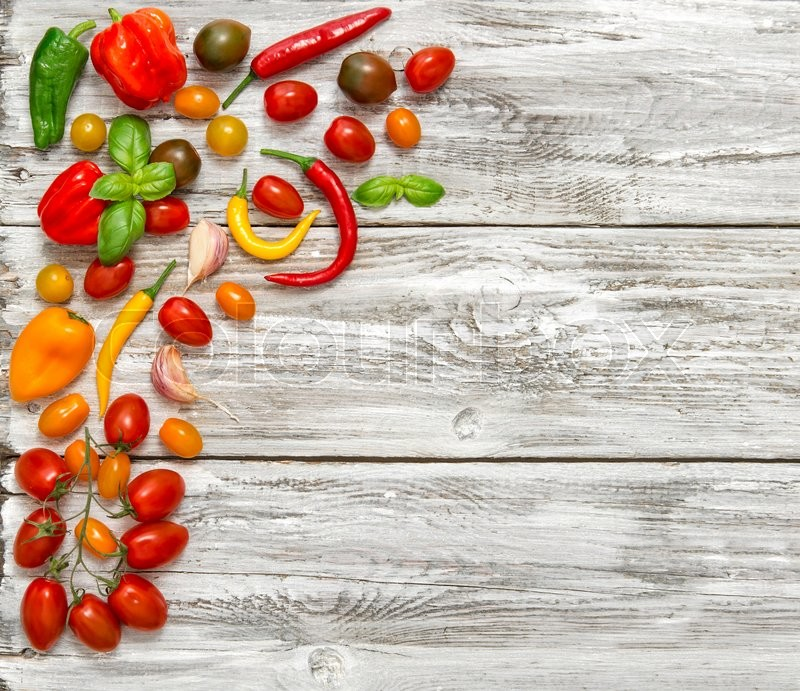 Stock image of 'Fresh vegetables tomato, paprika, garlic. Food background. Healthy nutrition'
