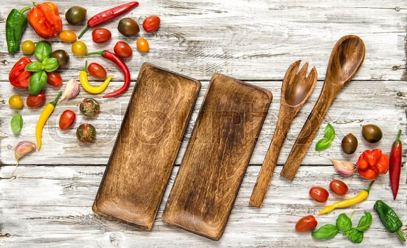 Stock image of 'Fresh vegetables and vintage kitchen utensils on rustic wooden texture. Food background'