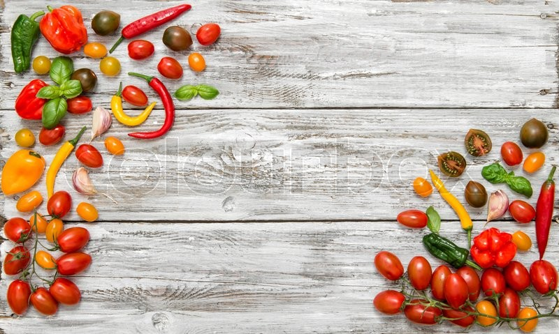 Stock image of 'Fresh vegetables tomato and paprika. Food background. Healthy mediterranean nutrition'