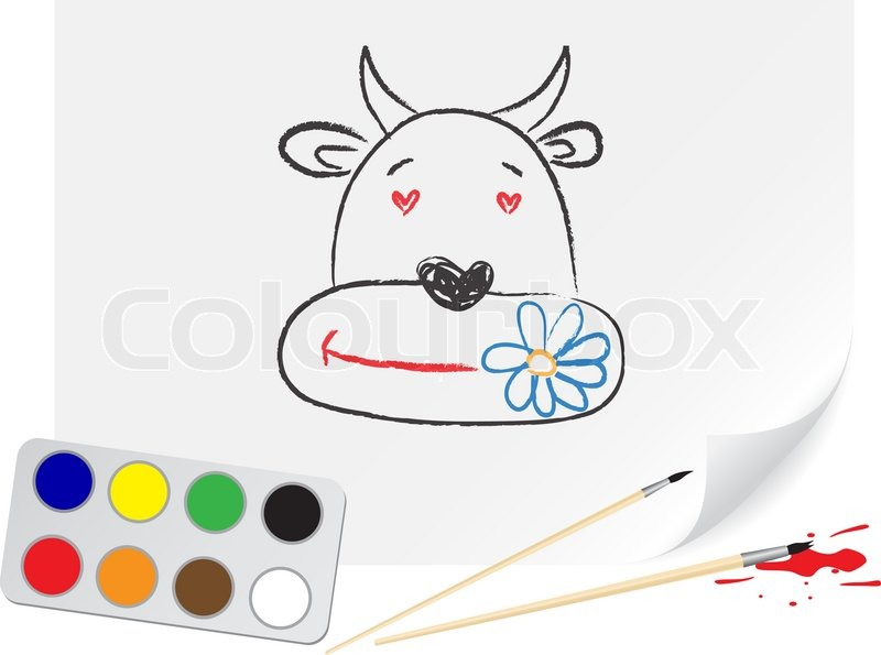 Nursery drawing cow on a paper | Vector | Colourbox