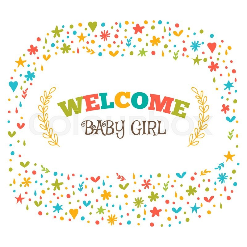 Baby girl shower card welcome baby girl baby girl arrival postcard baby girl shower card welcome baby girl baby girl arrival postcard baby shower greeting card announcement card vector illustration stock vector m4hsunfo
