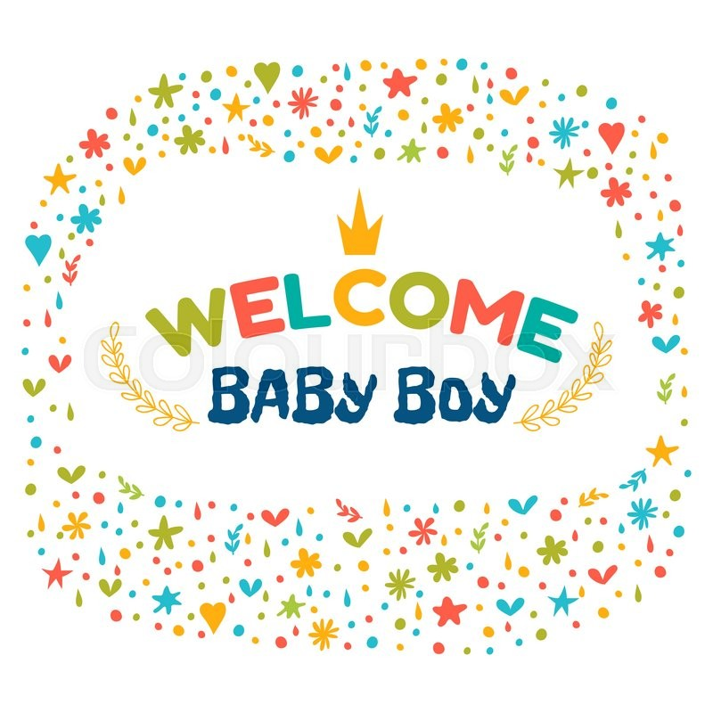 Baby Boy Shower Card Welcome Baby Stock Vector Colourbox