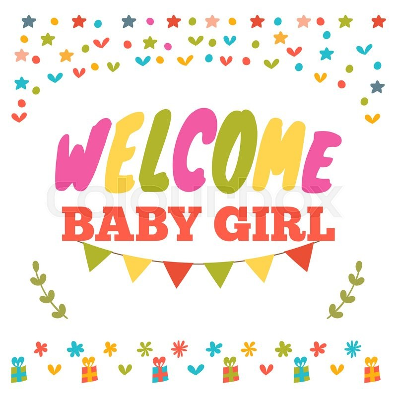Baby girl shower card welcome baby girl baby girl arrival postcard baby girl shower card welcome baby girl baby girl arrival postcard baby shower greeting card vector illustration stock vector colourbox m4hsunfo