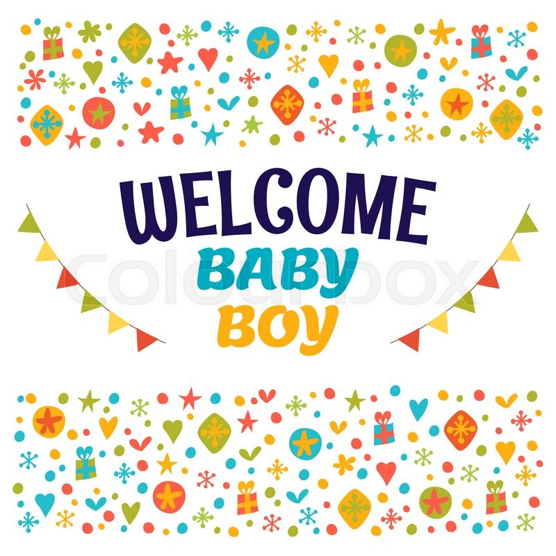 Welcome baby boy baby boy shower card baby boy arrival postcard welcome baby boy baby boy shower card baby boy arrival postcard baby shower greeting card vector illustration stock vector colourbox m4hsunfo