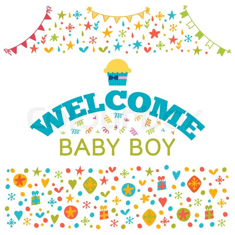 Welcome baby boy baby boy shower card baby shower greeting card welcome baby boy baby boy shower card baby shower greeting card cute baby boy arrival postcard vector illustration stock vector colourbox m4hsunfo