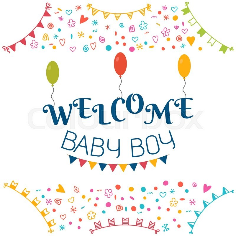 Stock Vector Of U0027Welcome Baby Boy. Baby Shower Greeting Card. Cute Baby Boy