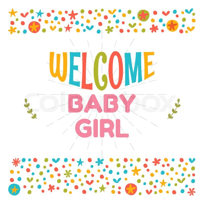 welcome baby girl shower card arrival card cute postcard