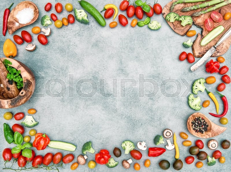 Stock image of 'Fresh vegetables and spices. Food objects frame. Healthy nutrition. Vintage style tcolored picture'