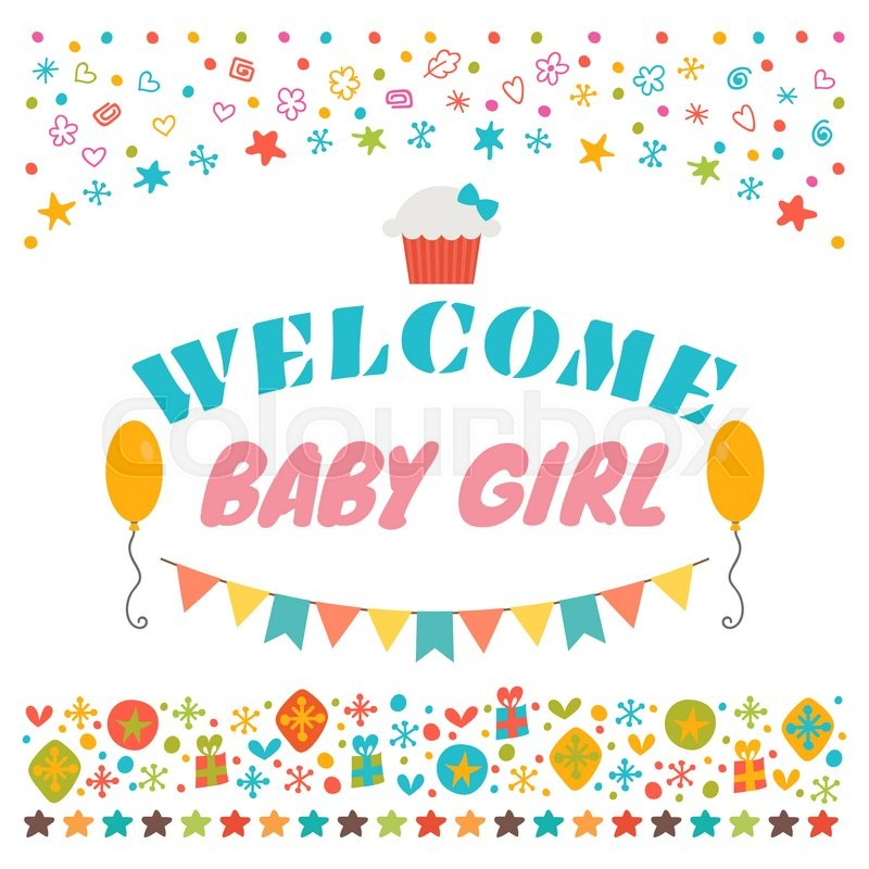 Welcome baby girl announcement card baby shower greeting card welcome baby girl announcement card baby shower greeting card baby girl shower card baby girl arrival postcard vector illustration stock vector m4hsunfo