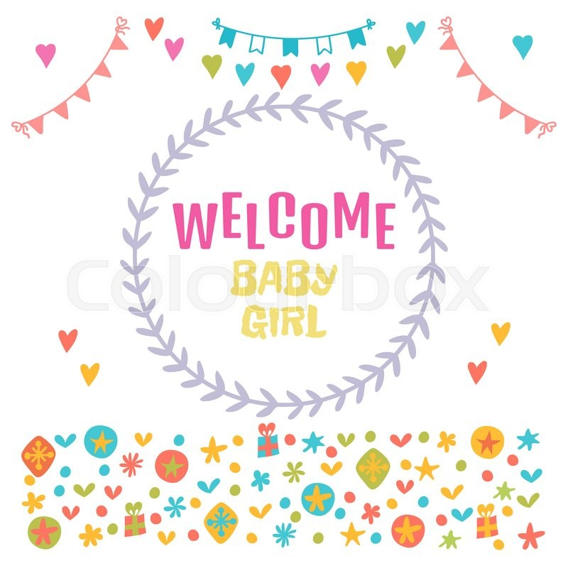 Welcome baby girl baby girl shower card baby shower greeting card welcome baby girl baby girl shower card baby shower greeting card baby girl arrival postcard vector illustration stock vector colourbox m4hsunfo