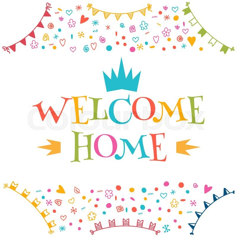 Welcome home text with colorful design elements greeting card welcome home text with colorful design elements greeting card decorative lettering text cute postcard vector illustration stock vector colourbox m4hsunfo