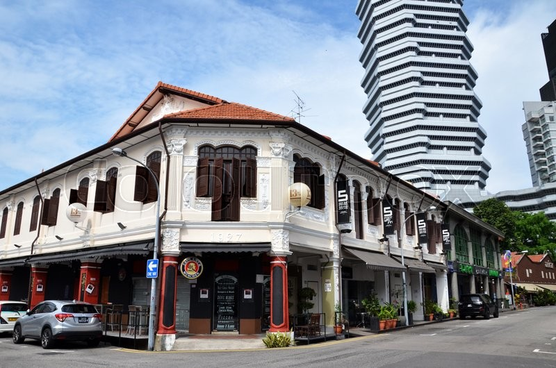 Editorial image of 'SINGAPORE - 05 JUN, 2015: On the streets Arab quarter (Kampong Glam). Arab Quarter is the oldest historic shopping district of Singapore, is popular for visiting tourists.'