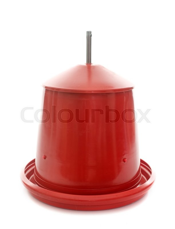 Stock image of 'red chicken feeder in front of white background'