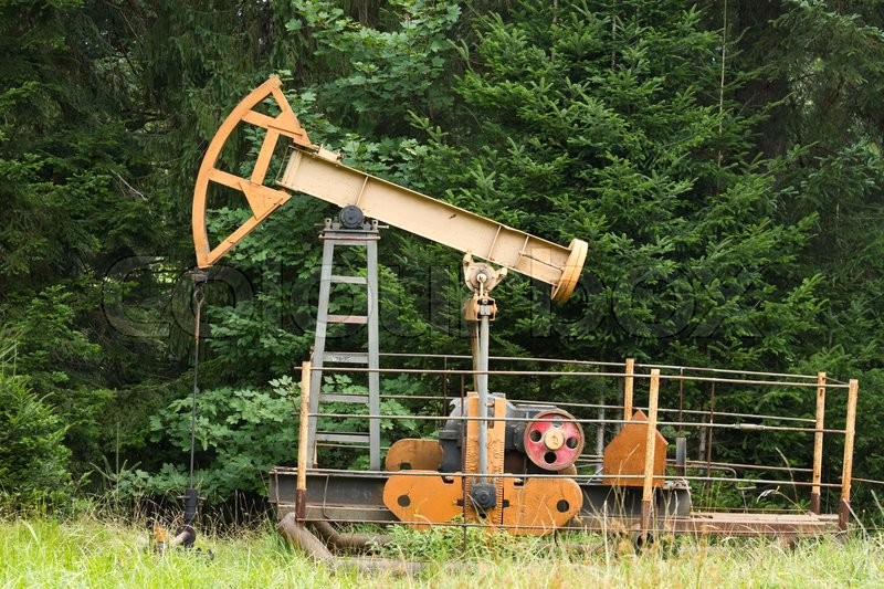 Stock image of 'Oil pump in the wild forest'