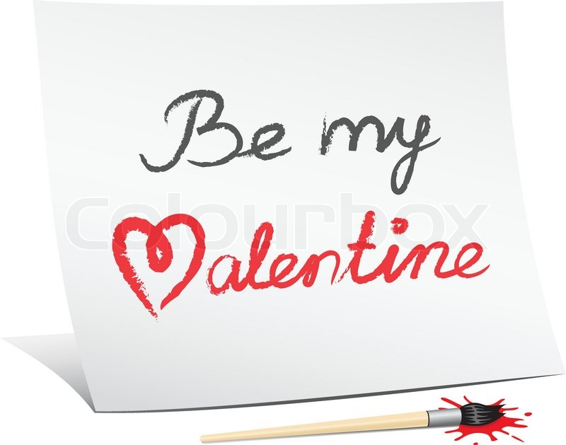 be my valentine the text message on the white paper vector - Valentines Text Messages