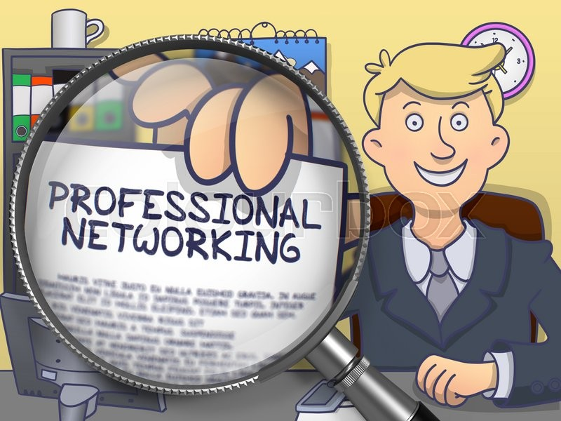 Stock image of 'Man Showing a Paper with Text Professional Networking. Closeup View through Lens. Colored Doodle Style Illustration.'