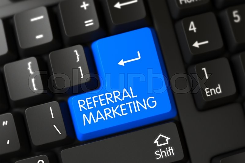 Stock image of 'Key Referral Marketing on PC Keyboard. Referral Marketing Concept: Computer Keyboard with Referral Marketing, Selected Focus on Blue Enter Button. 3D Illustration.'