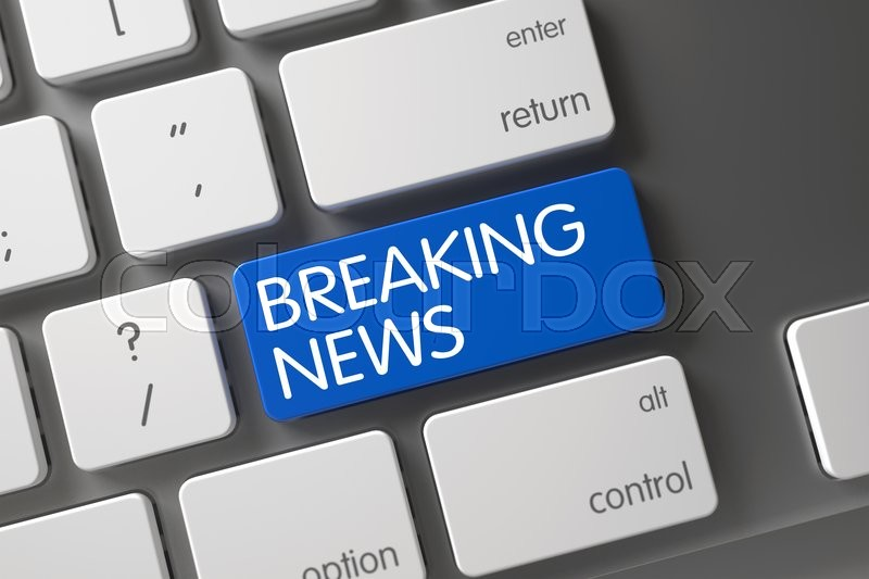 Stock image of 'Breaking News on Laptop Keyboard Background. Computer Keyboard with the words Breaking News on Blue Button. Blue Breaking News Button on Keyboard. 3D Render.'