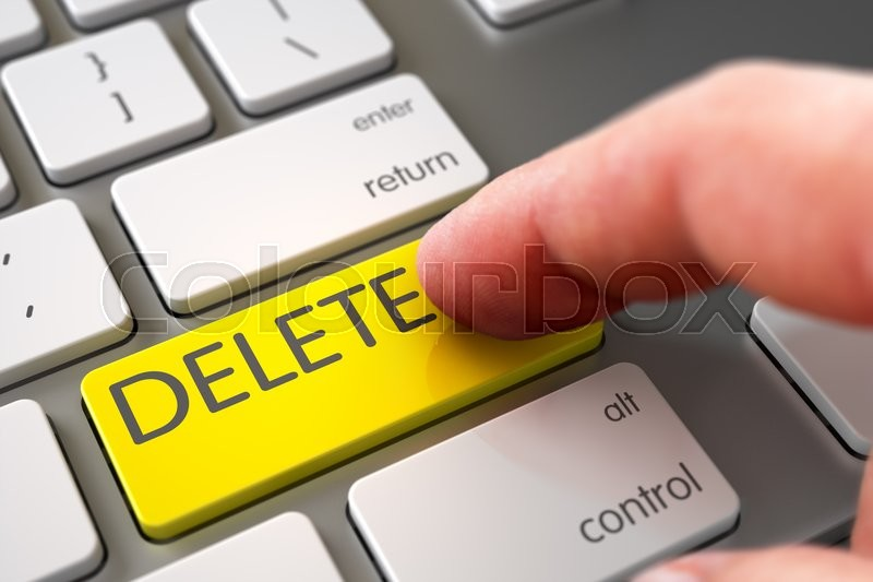 Stock image of 'Computer User Presses Delete Yellow Key. Hand using Modernized Keyboard with Delete Yellow Key, Finger, Laptop. Hand of Young Man on Delete Yellow Button. 3D Render.'