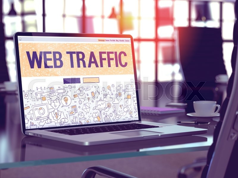 Stock image of 'Web Traffic Concept. Closeup Landing Page on Laptop Screen in Doodle Design Style. On Background of Comfortable Working Place in Modern Office. Blurred, Toned Image. 3D Render.'