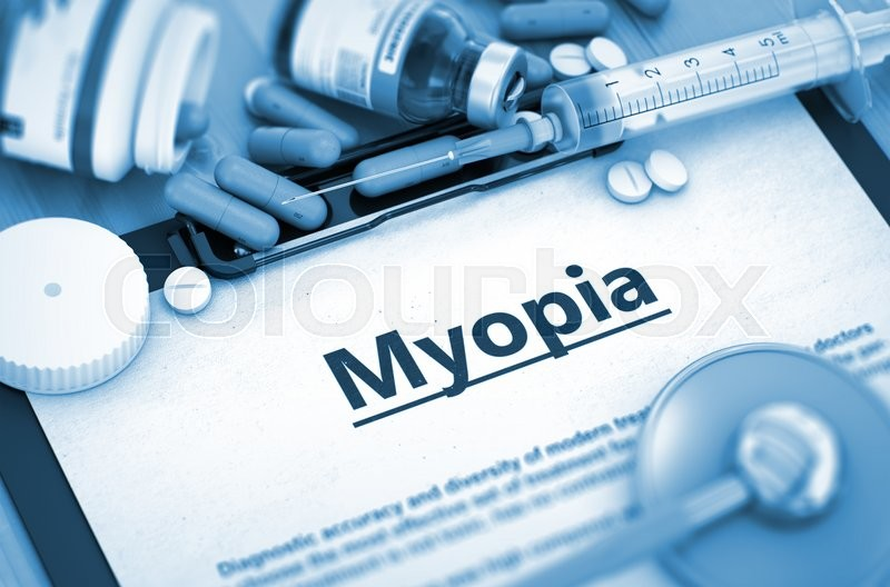 Stock image of 'Myopia, Medical Concept with Selective Focus. Diagnosis - Myopia On Background of Medicaments Composition - Pills, Injections and Syringe. 3D Render.'